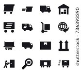 16 vector icon set   delivery ... | Shutterstock .eps vector #736393390