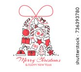christmas and new year banner... | Shutterstock .eps vector #736393780
