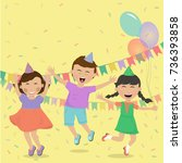 happy kids smiling and having... | Shutterstock .eps vector #736393858