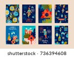 christmas cards with dancing... | Shutterstock .eps vector #736394608