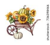Watercolor Pumpkins In The...