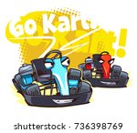 go kart race. cartoon... | Shutterstock .eps vector #736398769