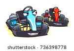 cartoon go karts isolated on... | Shutterstock .eps vector #736398778