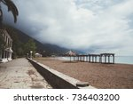 sea landscape with a mountains... | Shutterstock . vector #736403200