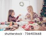 desktop full of handcraft... | Shutterstock . vector #736403668