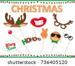 christmas photo booth props... | Shutterstock .eps vector #736405120