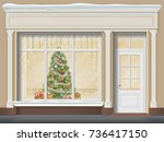 the storefront  with a door and ... | Shutterstock .eps vector #736417150