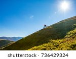 a man is riding enduro bicycle  ... | Shutterstock . vector #736429324