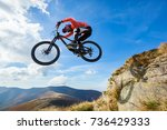 professional rider is jumping... | Shutterstock . vector #736429333
