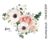 floral card vector design ... | Shutterstock .eps vector #736432309
