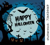 happy halloween. halloween... | Shutterstock .eps vector #736434469