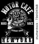 motorcycle racing typography... | Shutterstock .eps vector #736434568