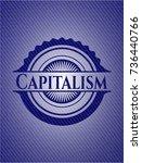 capitalism badge with denim... | Shutterstock .eps vector #736440766