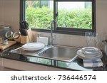 sink in kitchen room  modern... | Shutterstock . vector #736446574