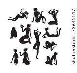 silhouettes of women   Shutterstock .eps vector #73645147