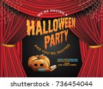 halloween party invitation...   Shutterstock .eps vector #736454044