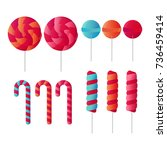set of candy lollipop vector | Shutterstock .eps vector #736459414