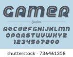 gamer vector decorative italic... | Shutterstock .eps vector #736461358