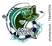 fishing logo. bass fish with... | Shutterstock .eps vector #736465534