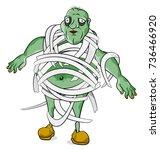 halloween monster vector on... | Shutterstock .eps vector #736466920