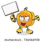 halloween pumpkin vector on... | Shutterstock .eps vector #736466938