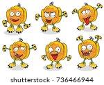 halloween pumpkin vector on... | Shutterstock .eps vector #736466944