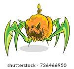 halloween pumpkin vector on... | Shutterstock .eps vector #736466950