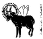 demonic goat with star and... | Shutterstock .eps vector #736467070