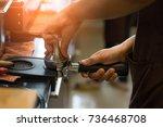 coffee machine preparing fresh... | Shutterstock . vector #736468708