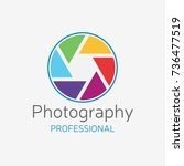 camera professional logo. color ... | Shutterstock .eps vector #736477519