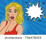 sexy surprised blond girl in... | Shutterstock .eps vector #736478353