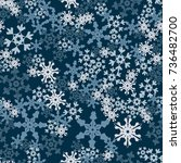 seamless pattern. snowflakes... | Shutterstock .eps vector #736482700