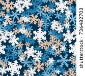 seamless pattern. snowflakes... | Shutterstock .eps vector #736482703