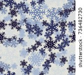 seamless pattern. snowflakes... | Shutterstock .eps vector #736482730