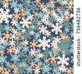 seamless pattern. snowflakes... | Shutterstock .eps vector #736482736