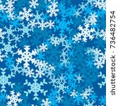 seamless pattern. snowflakes... | Shutterstock .eps vector #736482754