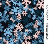 seamless pattern. snowflakes... | Shutterstock .eps vector #736482778
