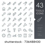 a set of simple outline tools... | Shutterstock .eps vector #736488430