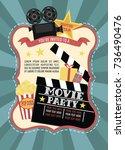 birthday party invitation for... | Shutterstock .eps vector #736490476