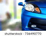front view of parked car | Shutterstock . vector #736490770