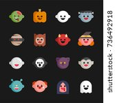 cute halloween ghost character... | Shutterstock .eps vector #736492918