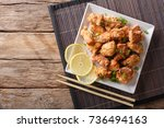 spicy chicken karaage with... | Shutterstock . vector #736494163
