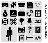 set of 22 business high quality ... | Shutterstock .eps vector #736495120