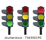 traffic light sequence . red ... | Shutterstock . vector #736500190