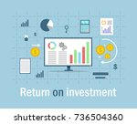 return on investment  roi ... | Shutterstock .eps vector #736504360