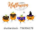set of cute cartoon pumpkin... | Shutterstock .eps vector #736506178