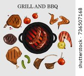 vector set of barbecue. the... | Shutterstock .eps vector #736507168