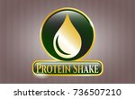 gold badge with drop icon and... | Shutterstock .eps vector #736507210