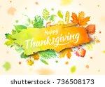 thanksgiving day poster design. ... | Shutterstock .eps vector #736508173