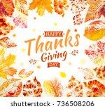 thanksgiving day poster design. ... | Shutterstock .eps vector #736508206